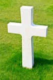 Marble Cross of fallen Soldier. American War Cemetery near Omaha Beach, Normandy (Colleville-sur-Mer Stock Images