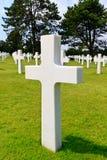 Marble Cross of fallen Soldier. American War Cemetery near Omaha Beach, Normandy (Colleville-sur-Mer Stock Photos