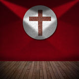 Marble Cross in Red Room - Religious Background Stock Photography