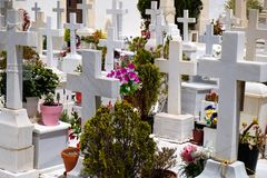 Marble Crosses in Cemetery Royalty Free Stock Photos