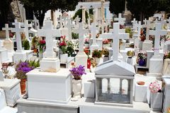 Marble Crosses in Cemetery Stock Images