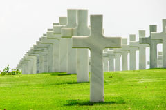 Marble Crosses on a Cemetery Stock Photo