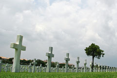 Marble Crosses on a Cemetery Stock Image