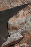 Marble Cut. Red marble in the cutting machine with saw Royalty Free Stock Photo