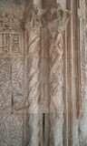Marble decor on Caravanserai Sultan Han gates. Ottoman relief ornament and two columns on the facade of Caravanserai Sultan Han near Kayseri close-up Stock Photo