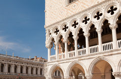 Marble decor and columns, St. Mark's Square ,Venice, Italy. Marble decor, inlay and marble columns, stone carving on the facade of the cathedral of San Marco, St Stock Images