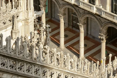 Marble decoration on Cathedral buttress and arched arcade, Milan. Foreshortening of marble decoration on ancient Cathedral buttress and old arched arcade just Royalty Free Stock Photo