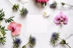 Marble desk with pink and blue flowers, postcard, invitation card with copy space for your text. Flat lay, top view. Woman`s day or mother`s day mockup royalty free stock photos