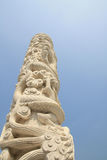 Marble dragon column Stock Photo