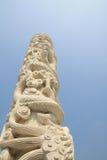 Marble dragon column. Temple scenery:the mahavira palace before the marble column Stock Photo