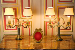 Marble dresser with classic lamps Royalty Free Stock Photography