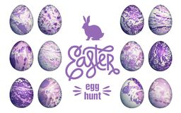 Marble easter eggs set. Easter eggs set isolated on white background, lettering `Happy Easter` and silhouette of Easter bunny. Flower, geometric and marble Royalty Free Stock Image
