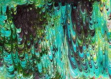 Marble ebru colorful acrylic pouring pattern background. Royalty Free Stock Images