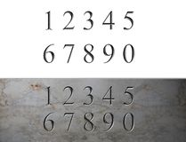 Marble Engraved Numbers. Arabic numbers engraved in marble or stone Royalty Free Stock Photos