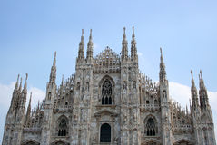 Marble facade of Milan Cathedral in Italy stock images