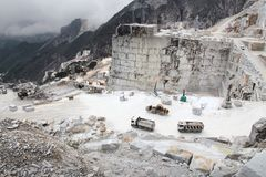 Marble factory. Carrara, Italy - marble quarry in Fantiscritti valley. Marble works of Miseglia. Apuan Alps mountains royalty free stock photos