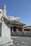 Marble fence and dragon head rain drain. Photoed in forbidden City, Beijing Stock Image