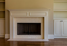 Marble Fireplace in New Home Stock Photography