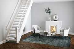 Marble fireplace in white living room with wood floor 3d render. Marble fireplace in white living room with wood floor Royalty Free Stock Photo