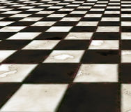 Marble floor abstract. Old rough and worn marble checkerboard floor background Stock Photo