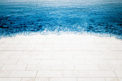 Marble floor being flooded by sea, Royalty Free Stock Image