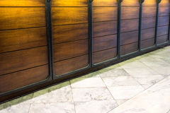 Marble floor and wood wall Stock Photo