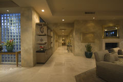 Marble Floored Hallway Along House Stock Images