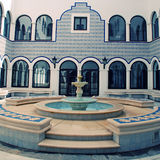 Marble fountain in arabic style patio(Morocco) Stock Photos