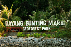 Marble Geoforest Park sign, Langkawi, Malaysia royalty free stock image
