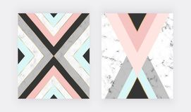 Marble geometric design with pink, blue, black and grey triangular, golden lines. Modern background for wedding invitation, banner. Card, flyer, poster, save royalty free illustration