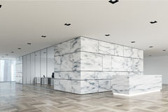 Marble and glass reception lobby side. Marble and white office lobby with a glass wall open space room and a wooden reception counter. Side view 3d rendering Stock Images