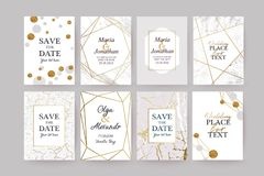 Marble gold texture card, wedding invitation. Marble gold texture card, frame or invitation. Grey grunge background royalty free illustration