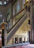 Marble golden floral ornate minbar Platform, Blue Mosque, Istanbul, Turkey Stock Photos