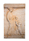 Marble grave stele shows a girl offering a bird to a naked boy. Found in Vari, Attica (420 B.C.), isolated Stock Images