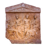 Marble Greek grave stele, Thebes, 5th century B.C., isolated Royalty Free Stock Images