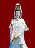 The marble Guan Yin on red Color in Chinese background with clip royalty free stock photography
