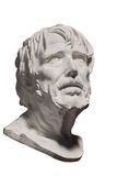 Marble Gypsum Statue of a head. Old sad man. White background. Royalty Free Stock Image