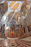 The marble hall in the Holy Sepulchre lit bright sun Royalty Free Stock Photos