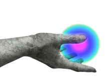 Marble hand. Holding light ball royalty free illustration