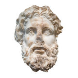 Marble head of the greek god Zeus isolated on white Royalty Free Stock Photos