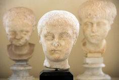 The marble-head scuplture in the baths of Diocletian (Thermae Diocletiani) in Rome. Royalty Free Stock Image