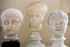 The marble-head scuplture in the baths of Diocletian (Thermae Diocletiani) in Rome. Stock Photography