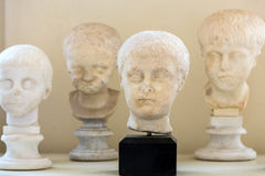 The marble-head scuplture in the baths of Diocletian (Thermae Diocletiani) in Rome Stock Photography