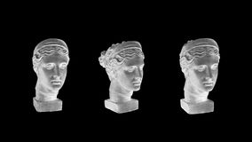 Marble head of young woman, ancient Greek goddess bust isolated on black background. Royalty Free Stock Photo