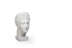 Marble head of young woman, ancient Greek goddess bust isolated on white background with copy space for text. Stock Photo