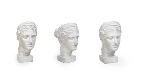 Marble head of young woman, ancient Greek goddess bust isolated on white background with copy space for text. Set of marble head of young woman, ancient Greek Stock Images