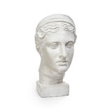 Marble head of young woman, ancient Greek goddess bust on white background Royalty Free Stock Images