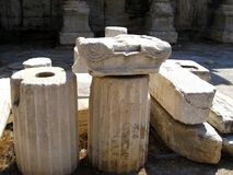 Marble Ionic Column Pieces, Ancient Agora, Athens. Ancient white marble ionic pillar pieces, Ancient Agora, Athens, Greece Stock Images