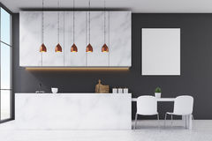 Marble kitchen interior with poster Royalty Free Stock Photo