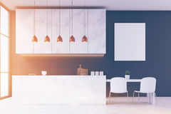 Marble kitchen interior with poster Royalty Free Stock Image